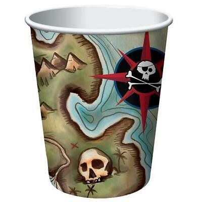 Pirate Map Children's Party Range Cups Pk 8