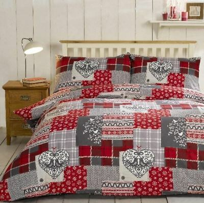 Alpine Patchwork Red Brushed Cotton Festive Christmas Hearts Xmas Bedding