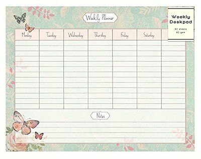 Butterfly & Rose Design Weekly Desk Pad Organiser Planner To Do Notes 52 Sheets