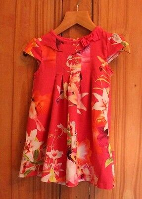 Ted Baker girls pretty bright hot pink floral summer party dress 18-24m