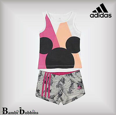 Adidas Disney Minnie Mouse Girls Outfit Set Shorts Age 2-3-4-5-6-7-8-9-10 Years