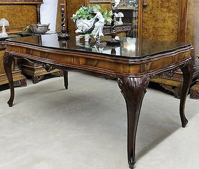 Antique Country French Hand Carved Walnut Granite Top Louis XV Table Desk C1870