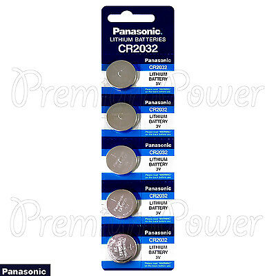 5 x Panasonic CR2032 batteries Lithium 3V Coin Cell DL2032 BR2032 KRC2032