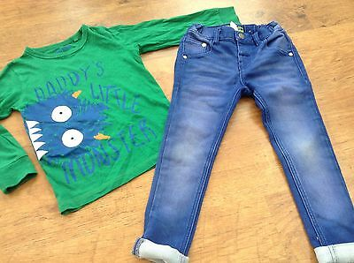 100% Next Boys Small Bundle / Outfit 3-4Yrs Top Soft Jeans