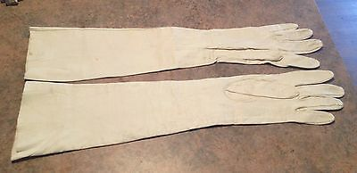 Leather Gloves, Ladies Vintage Long Kid Leather, Made In France
