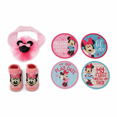 Disney Minnie Mouse Milestone Stickers Headwrap & Booties Gift Set, Girls 0-12M