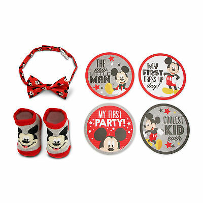 Disney Mickey Mouse Milestone Stickers, Bowtie and Booties Gift Set, Boys 0-12M