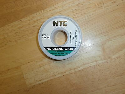 "SW01-50 NTE No-Clean Soder Wick 50 Ft Spool,.075"" Width,Green,NEW"