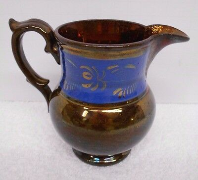 """Antique Copper Luster Pitcher Creamer Blue Band 4 1/2"""" tall"""