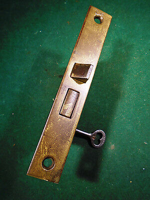 "VINTAGE 3 TUMBLER MORTISE LOCK w/ KEY - 5 5/8"" FACEPLATE - RECONDITIONED! (8119)"