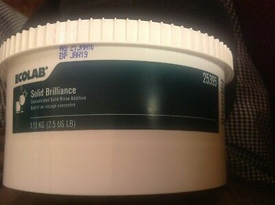 New & Fresh! Ecolab #25395 Concentrated Solid Brilliance Rinse Additive. (Green)