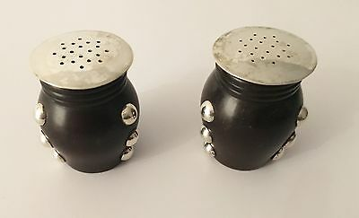 William Spratling Sterling Silver and Rosewood Salt and Pepper Shakers
