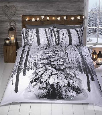 Winter Sparkle Seasonal Glitter Bedding Snow Tree Forest Woodland Scene