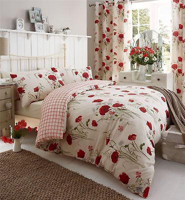 Catherine Lansfield Red/Cream Wild Poppies With Tartan Reverse Duvet Set S/D/K