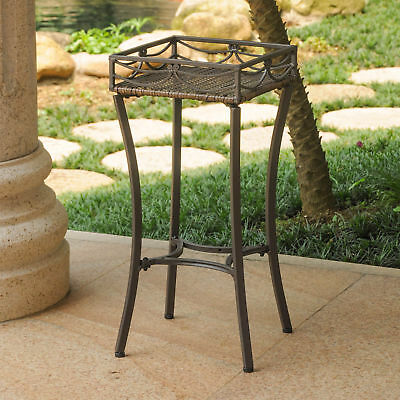 INTC-4114PSABN-Valencia Resin Wicker/ Steel Square Plant Stand - Antique Brown