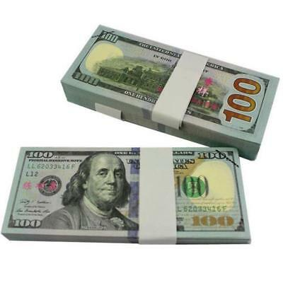100 Bills Full Print Best Movie Prop Play Fake Money Joke Prank Magic Props BG
