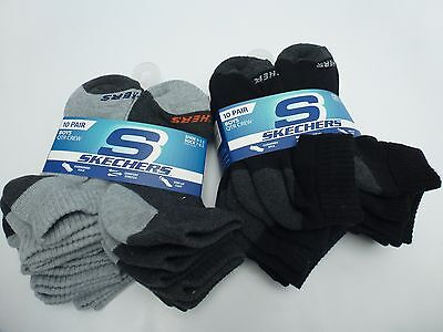 SKECHERS Boy/Kid's Athletic QTR Crew Cut Sock*Coal/Black 10 Pairs Size 7-8.5