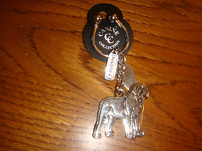 Silver-Plated Canine Collection Mastiff Key Chain Ring & Dog Tag - New