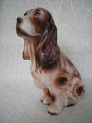 Vintage English Springer Spaniel Seated 6.75 Inch Figurine Brown and White