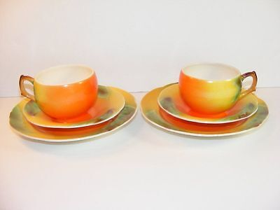Vintage 2 Sets of Tea Cups & Saucers Orange Green Japan Red Flower Mark