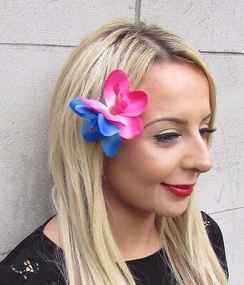 Hot Pink Blue Double Orchid Flower Hair Clip Rockabilly 1950s Fascinator 3483