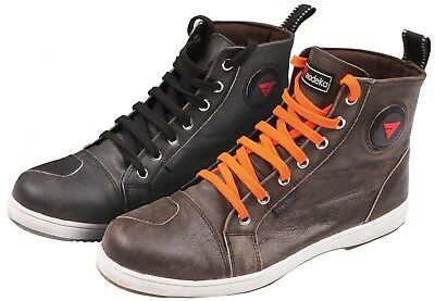 Modeka Lane Black Brown Motorcycle Shoes Trainers Vintage Cafe Racer Retro