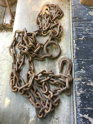 Vintage 15ft Hand Forged Very Weathered & Worn Rustic Chain Decorator Item