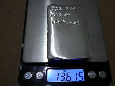 13.6 Troy Ounce Hand Poured .999 Fine Silver Bar