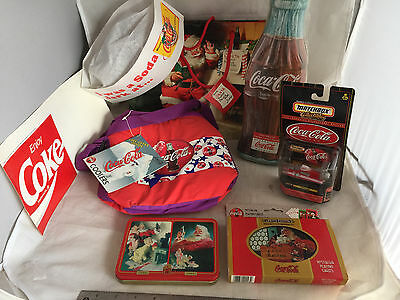 8 NEW Coca-Cola Coke Items Sign Cooler Playing Cards Matchbox Tin Gift Bag
