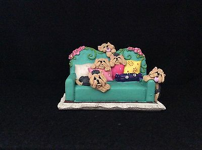 Yorkshire Terrier Yorkie Dogs Sofa Time Ooak Clay Sculpture