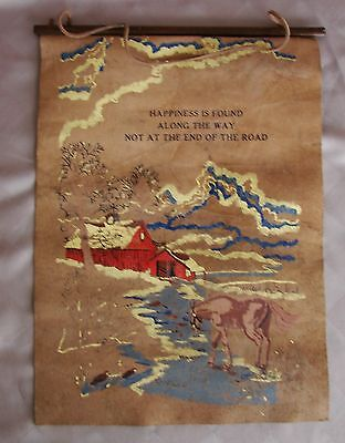 Vintage Hand Painted Wall Hanging Scroll  Horse w/ Quote