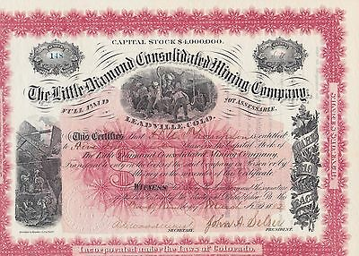 Little Diamond Consolidated Mining Company Issued 1882 Stock Certificate.beauty!
