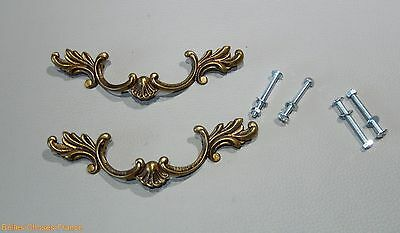 Vintage 2 french large gold brass drawer pull ornate pediment furniture