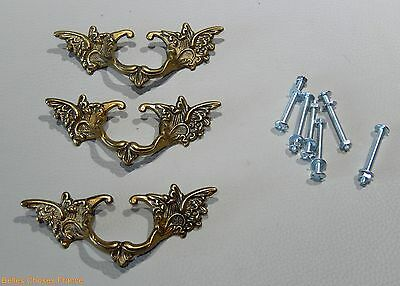 Vintage 3 french gold brass drawer pull ornate pediment furniture