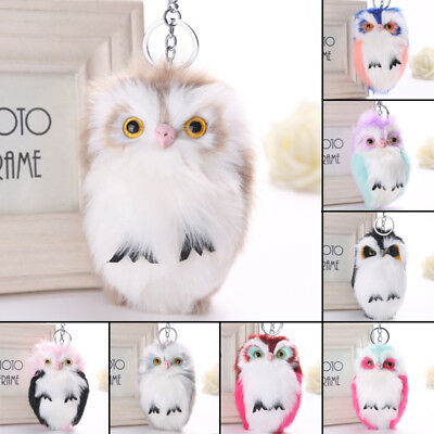 Fluffy Ball Key Ring Soft Car Pendant Charm Rabbit Fur Handbag Key Chain Pom