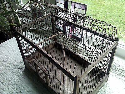 Awesome antique wooden bird cage