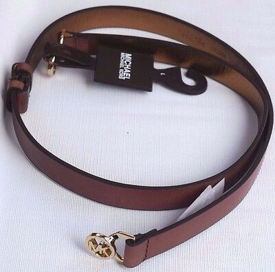 MICHAEL KORS Brown Leather Belt Small Gold Round Twist Clasp Buckle Womens L NEW