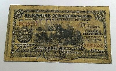 1887 Uruguay Banco Nacional Banknote~ 10 Centesimos ~ Low Grade ~ Affordable!