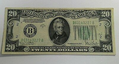 1934-D $20 Federal Reserve Note ~ A161/632 ~ Lime Green Seal ~ Xf ~ New York