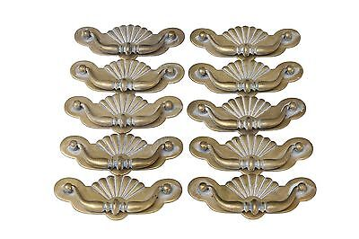 Brass Bail Handles with Shell Motif by Keeler Brass Company, Set of 10
