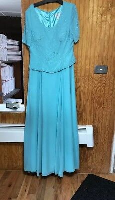 Mother Of The Bride Dress Tiffany Blue Floor Length 2 pc look Size XL