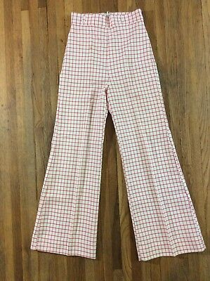 Vintage 60s 70s Womens High Waist Wide Leg Flare Mod Polyester Plaid Pants 25