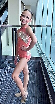 Dance Solo Costume or Convention Wear Child Medium Custom Made Coral Gold Silver