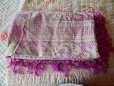 Vintage Antique Made in Italy Bedspread Coverlet Bed Cover Fringe Purple Silk
