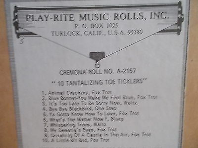 "PLAY-RITE CREMONA Nickelodeon Music Roll A-2157-""10 TANTALIZING TOE TICKLER-#116"