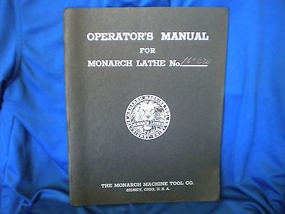 Vintage OPERATOR'S MANUAL for MONARCH LATHE