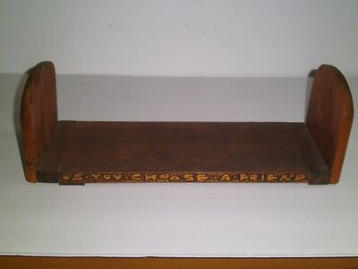 Vtg Arts & Crafts Sliding Book Rack/Stand Table top Motto/Lion hand carved 1920s