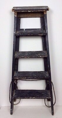 Vtg Antique Painted Black Shabby Chic Industrial Pine Ladders Shop Fitting Prop