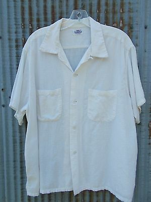 Vtg 50s Campus Loop Collar Shirt white cotton gauze pucker Rockabilly trashed L