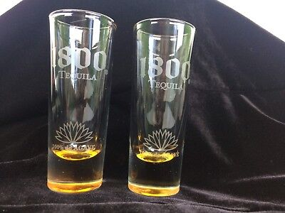 "1800 Tequila Shooter / Shot Glass (Set of 2)  ""Cuervo"" in Great Condition!"